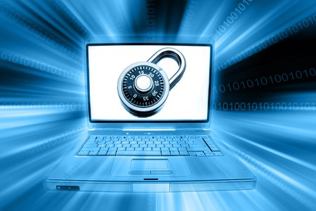 Laptop computer, padlock and codes Stock Photo - 7783369