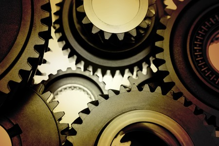 Closeup of metal gears binding together Stock Photo - 7893102