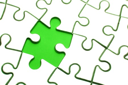 Piece missing from jigsaw puzzle Stock Photo - 7893150