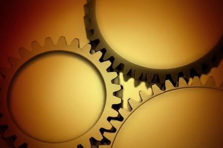Closeup of three metal gears Stock Photo - 7893151