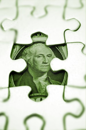 find us: U.S. one dollar and jigsaw puzzle