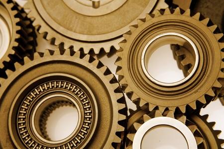 Closeup of metal gears binding together Stock Photo - 8127444