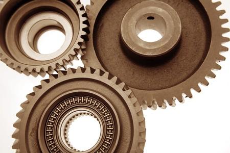 Closeup of three metal gears Stock Photo - 8127442