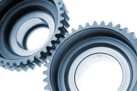 Closeup of two metal gears Stock Photo - 8127438