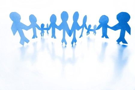 Blue people holding hands together  photo