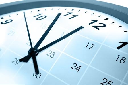 annual event: Clock face and calendar composite Stock Photo
