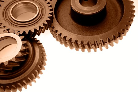 Closeup of three metal gears Stock Photo - 8198629