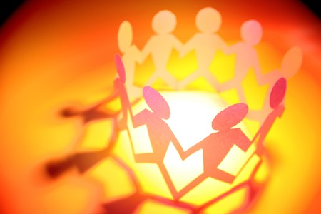 Group of people holding hands in a circle Stock Photo - 8198618