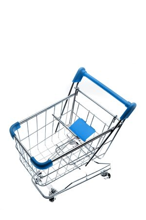Shopping trolley isolated on white background   photo