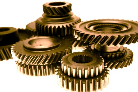 gearbox: Closeup of metal gears binding together Stock Photo