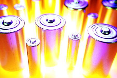throwaway: Closeup of disposable batteries. Studio shot