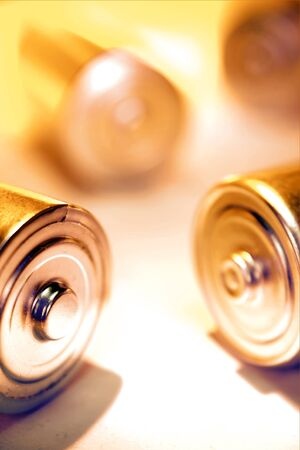 Closeup of disposable batteries. Studio shot photo
