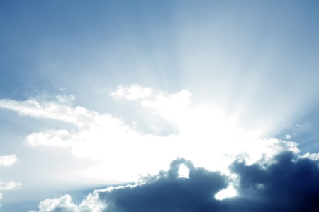 heavenly: Rays of light and clouds Stock Photo