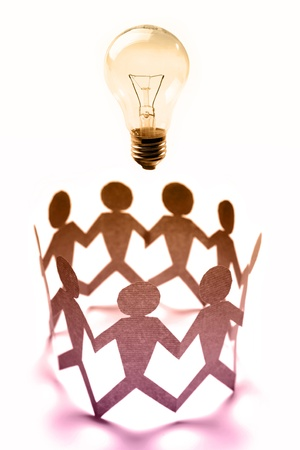 team problems: Group of people and light bulb