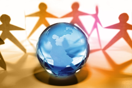 us team: Team united together holding hands. Americas on globe   Stock Photo