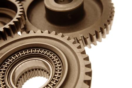 Closeup of three metal gears   Stock Photo - 8752920