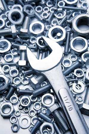 Wrench on nuts and bolts Stock Photo - 8862606