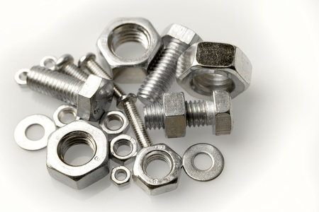 Assorted nuts and bolts close-up
