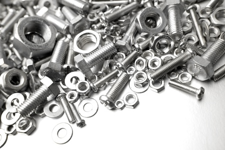 metal fastener: Assorted nuts and bolts close-up