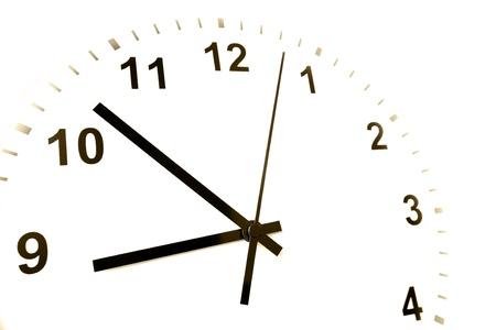 o�??clock: Manos de reloj apuntando a las nueve