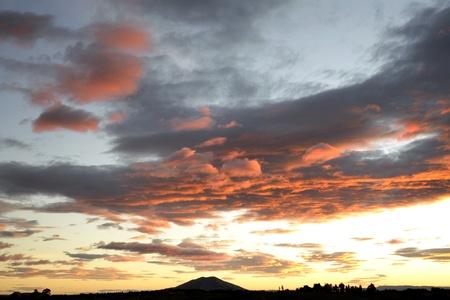 Dramatic sunset sky, New Zealand photo