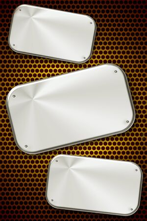 Three steel plates on grill Stock Photo - 9011074