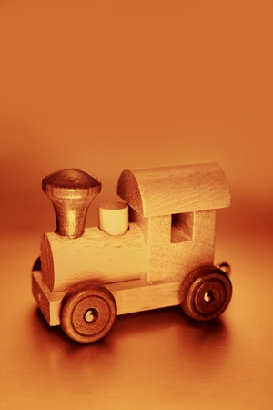 Wooden toy train photo