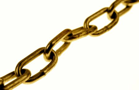 linkage: Chain links on plain background