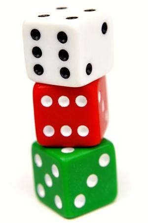 Three dice on plain background Stock Photo - 9508124