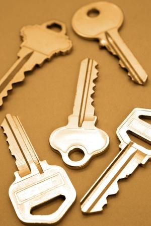doorkey: Five keys Stock Photo
