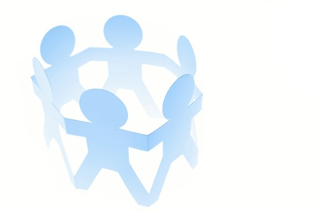 paper cutout: Group of people in a circle on plain background