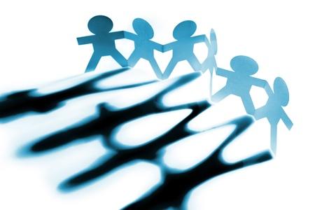 shadows: Grupo de personas de mano