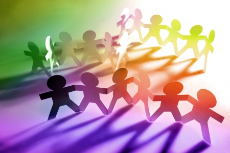 Group of paperchain people Stock Photo - 9570336