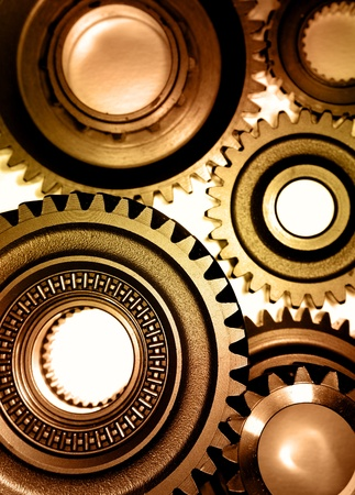 Steel gears meshing together Stock Photo - 9570364