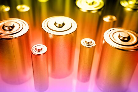 potent: Close-up of batteries Stock Photo