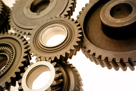 Steel gears meshing together Stock Photo - 9673986