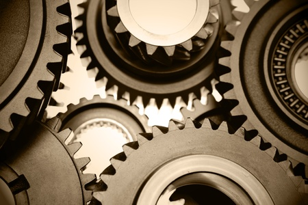 Closeup of steel gears meshing together Stock Photo - 10026260