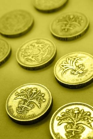 pound coins: One pound coins Stock Photo