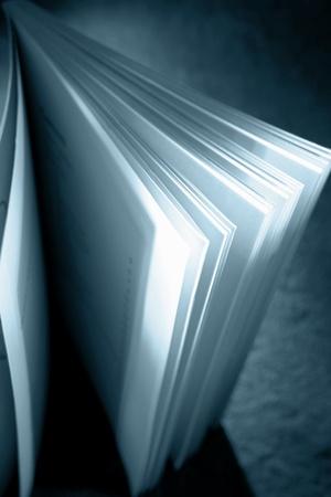 Closeup of open book standing up