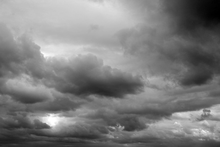 gloomy: Gray and black storm clouds