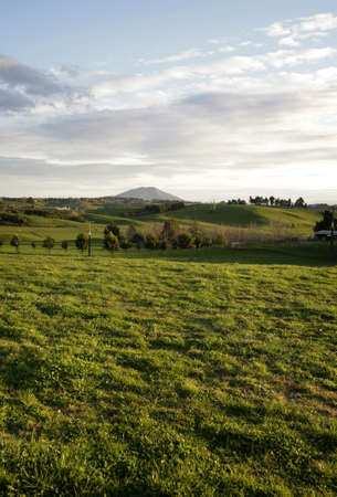 Rolling farmland and sky, New Zealand photo