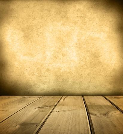 floorboards: Tarimas de madera y paredes en blanco