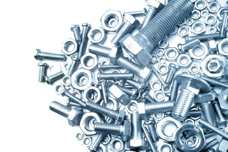 metal fastener: Nuts and bolts closeup. Copy space Stock Photo