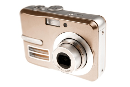 compact camera: Digital camera isolated on white