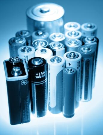 throwaway: Closeup of various size batteries Stock Photo
