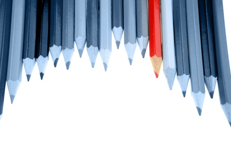 special individual: One red pencil standing out from dull pencils Stock Photo
