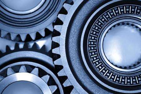 three wheel: Closeup of three metal gears
