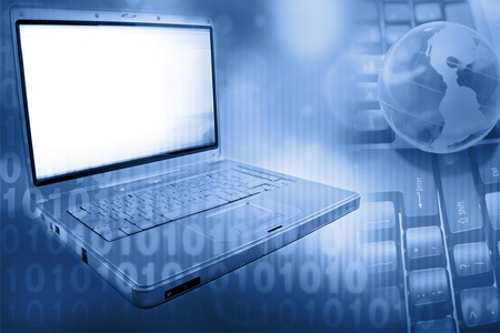 Laptop computer, globe and numbers Stock Photo - 10642079