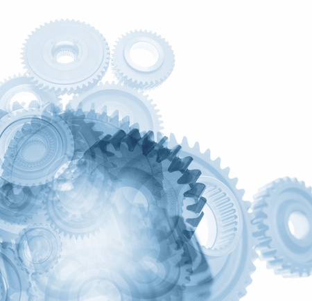 gearing: Gears on plain background. Copy space