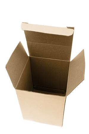 Empty cardboard box on white background photo